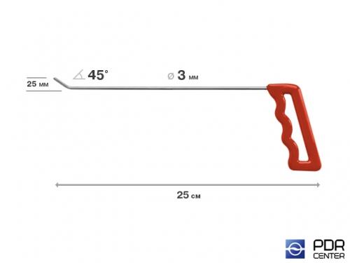 Крючок левый угловой, плоский (длина 25 см, угол загиба 45º, длина загиба 25 мм, Ø 3 мм)