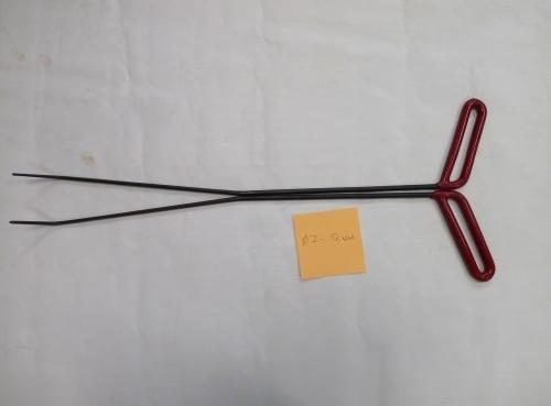 Пара Ø 7 мм, длина 590 мм,угол первого загиба 5º,угол второго загиба 45º.