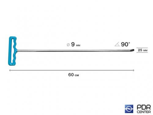 Крючок со стандартным загибом для винтовых насадок (длина 61 см, угол загиба 90º, длина загиба 25 мм, Ø 9 мм)