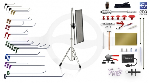 Большой набор со средней LED лампой Ultra Dent (24 крючка, 4 насадки, 15 аксессуаров, клеевая система, средняя лампа)