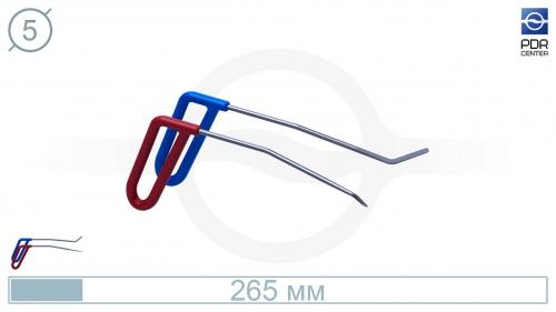 Крючки PDRC-17 (Пара) Длина 25 см, длина первого загиба 10 см, угол загиба 10º Длина второго загиба 4 см 45º. Ø5 мм.