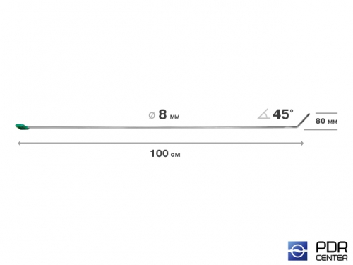 Крючок со стандартным загибом, плоский (длина 123 см,  угол загиба 45º, длина загиба 80 мм, Ø 8 мм)