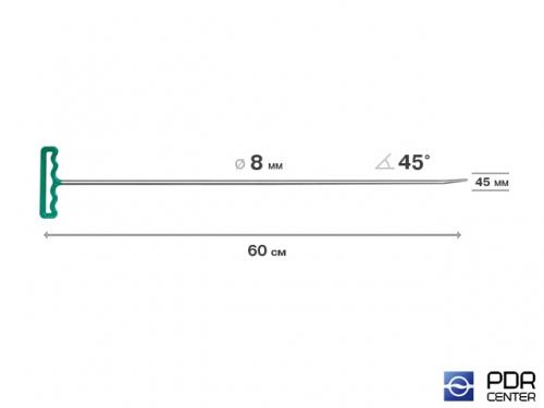 Крючок со стандартным загибом, закруглённый (длина 82 см,  угол загиба 45º, длина загиба 45 мм, Ø 8 мм)