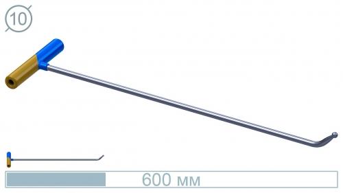 Крючок 10027 Диаметр 10 мм, длина 600 мм, загиб 45 градусов, носик 45 мм, окончание шар 10 мм