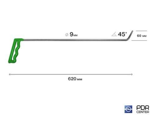 Крючок № 10 (Ø 9 мм, длина 640 мм, зеленый)