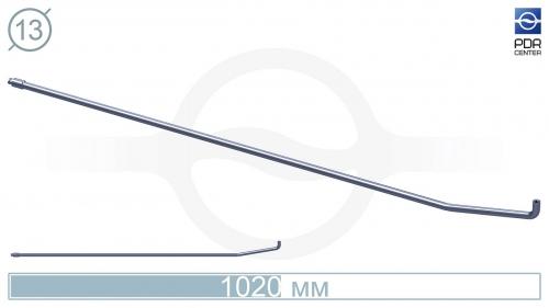 Крючок с двойным загибом для винтовых насадок (длина 102 см, длина 1 загиба 16 см, длина 2 загиба 3 см, угол загиба 90º, Ø 13 мм, без ручки)