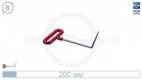 Крючок с загибом 70º, плоский (длина 20 см, угол загиба 70º, длина загиба 75 мм, Ø 6 мм)
