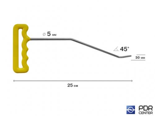 Крючок правый угловой, плоский (длина 25 см, угол загиба 45º, длина загиба 30 мм, Ø 5 мм)