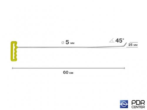 Крючок правый угловой, градовый, плоский (длина 60 см, угол загиба 45º, длина загиба 25 мм, Ø 5 мм)