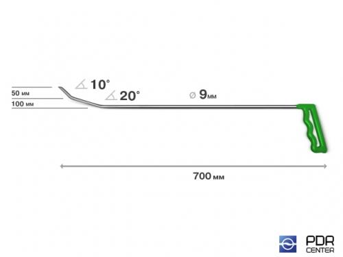 Крючок № 12 (Ø 9 мм, длина 710 мм, зеленый (ножевой наконечник))