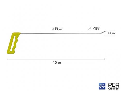 Крючок правый угловой, плоский (длина 40 см, угол загиба 45º, длина загиба 30 мм, Ø 5 мм)