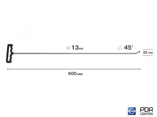Крючок со стандартным загибом для винтовых насадок (длина 90 см, длина загиба 30 мм, угол загиба 45º, Ø 13 мм)