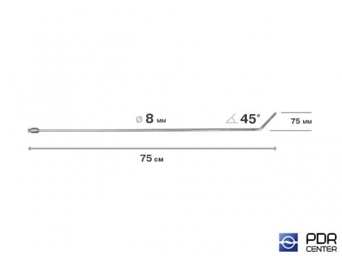 Крючок со стандартным загибом, плоский, без ручки (длина 75 см,  угол загиба 45º, длина загиба 75 мм, Ø 8 мм)