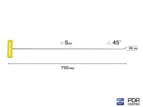 Крючок со стандартным загибом, плоский (длина 75 см, угол загиба 45º, длина загиба 28 мм, Ø 5 мм)