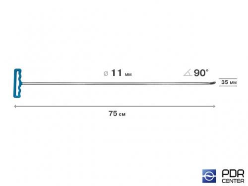 Крючок со стандартным загибом под насадки A35 и A36 (длина 75 см,  угол загиба 90º, длина загиба 35 мм, Ø 11 мм)
