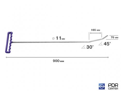 Крючок с двойным загибом, плоский (длина 900 мм, длина 1 загиба 165 мм, длина 2 загиба 70 мм, угол загиба 75°, Ø 11 мм).