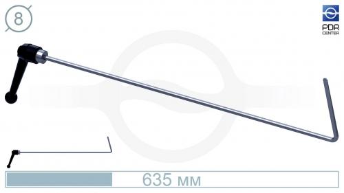 Крючок дверной, поворотная рукоятка, плоский (длина 63,5 см, Ø 8 мм)