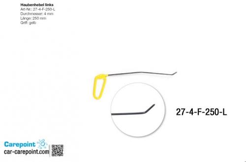 Капотная штанга длина 30 см,1 загиб 12 см угол 10º, длина 2 загиба 3 см, угол загиба 35º(левая)