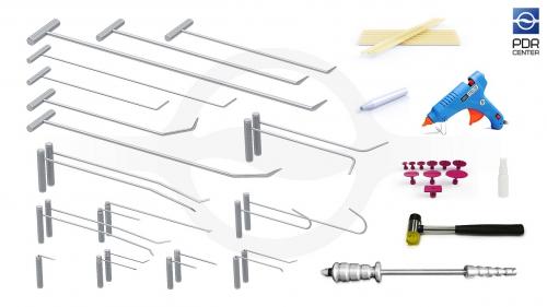 Набор инструментов для удаления вмятин (36 предметов, 10 крючков, клеевая система, комплект для осаживания)