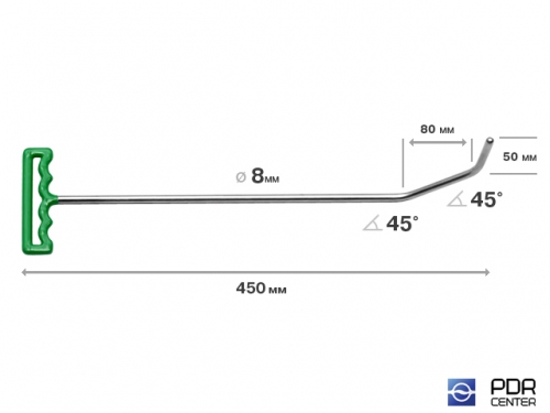 Крюк с большим изгибом (длина 45 см, угол загиба 90º, Ø 8 мм)