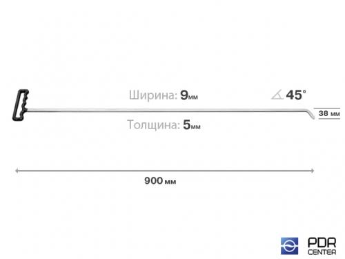 Крючок с наконечником-лезвием (длина 90 см, ширина 9 мм, толщина 3 мм, длина загиба 3,8 см, угол загиба 45º)