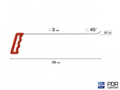 Крючок правый угловой, плоский (длина 38 см, угол загиба 45º, длина загиба 25 мм, Ø 3 мм)