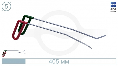 Крючки PDRC-16 (Пара) Длина 40 см, длина первого загиба 13 см, угол загиба 10º Длина второго загиба 4 см 45º. Ø6 мм.
