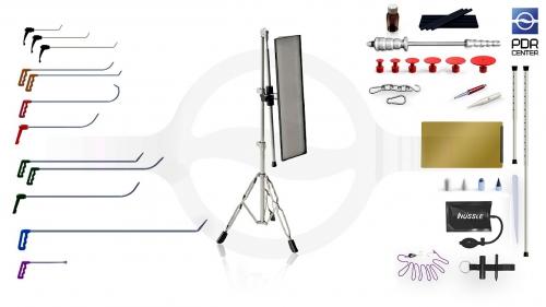 Малый набор со средней LED лампой Ultra Dent (12 крючков, 4 насадки, 11 аксессуаров, клеевая система, средняя лампа)