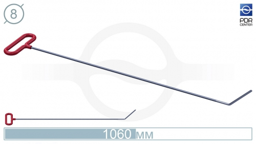Крючок со стандартным загибом, плоский (длина 106 см, длина загиба 130 мм, угол загиба 45º, Ø 8 мм)