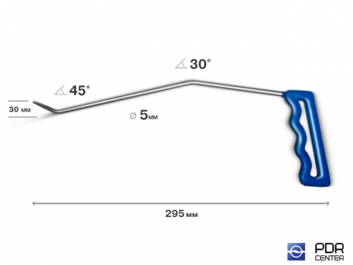 Угловой крючок, левый (Ø 5 мм, длина 295 мм, желтый)