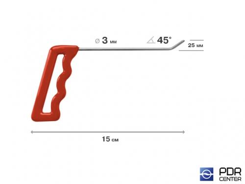 Крючок правый угловой, плоский (длина 15 см, угол загиба 45º, длина загиба 25 мм, Ø 3 мм)