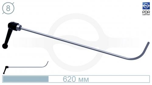 Крючок дверной, поворотная рукоятка, плоский (длина 62 см, Ø 8 мм)