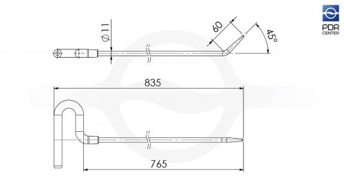 Крючок со стандартным загибом (длина 83,5 см, длина загиба 60 мм, угол загиба 45º, Ø 11 мм)