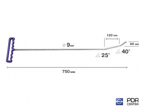 Крючок с двойным загибом, плоский (длина 75 см, длина 1 загиба 12 см, длина 2 загиба 6 см, угол загиба 65°, Ø 9 мм)