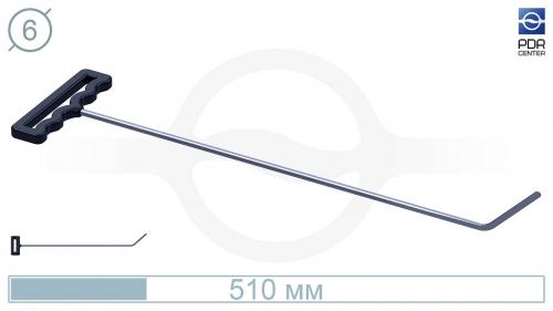 Крючок со стандартным загибом, плоский (длина 51 см, угол загиба 45º, длина загиба 65 мм, Ø 6 мм)