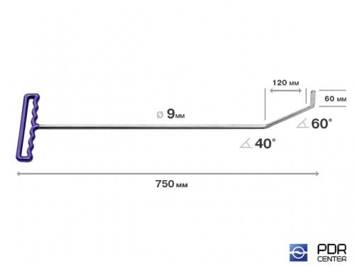 Крючок с двойным загибом, плоский (длина 75 см, длина 1 загиба 12 см, длина 2 загиба 6 см, угол загиба 100°, Ø 9 мм)