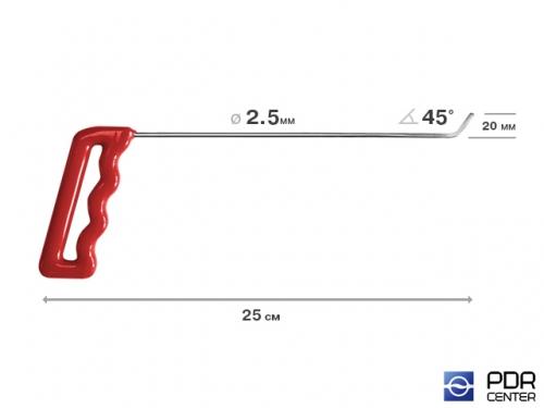 Крючок со стандартным загибом, плоский (длина 25 см,  угол загиба 45º, длина загиба 20 мм, Ø 2,5 мм)