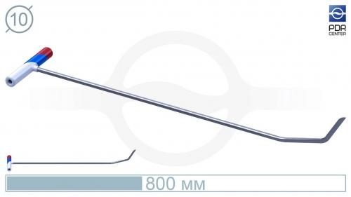 Крючок №4n Длина 85 см, длина первого загиба 10 см, угол загиба 20° длина второго загиба 8 см угол загиба 30°. Ø10 мм.
