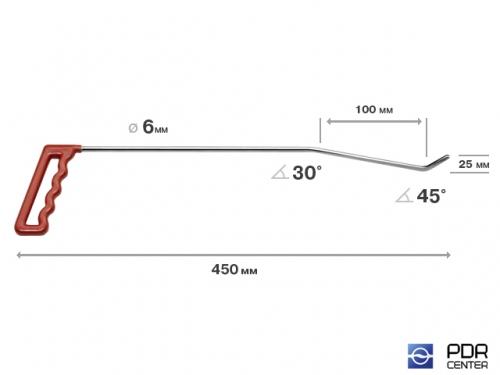 Правый угловой (длина 45 см, угол загиба 45º, Ø 6 мм)
