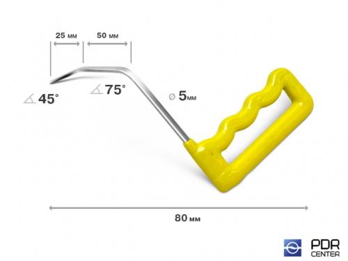 Правый угловой, плоский (длина 8 см, угол загиба 45º, Ø 5 мм)