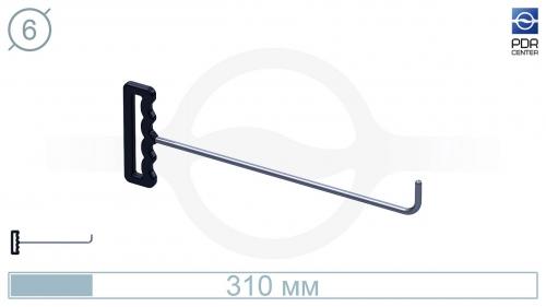 Крючок с прямым загибом, закругленный (длина 30 см, угол загиба 90°, длина загиба 38 мм, Ø 6 мм)