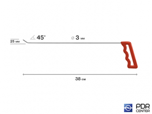 Крючок левый угловой, плоский (длина 38 см, угол загиба 45º, длина загиба 25 мм, Ø 3 мм)