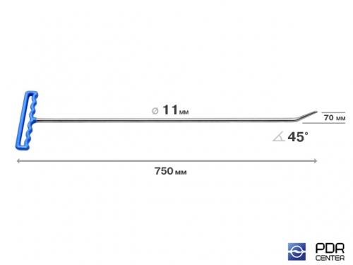 Крючок со стандартным загибом, закруглённый (длина 75 см, длина загиба 7 см, угол загиба 45°, Ø 11 мм)