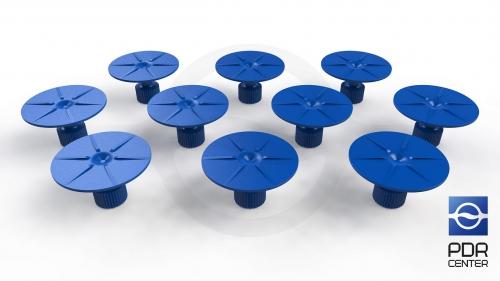 Клеевые грибки круглые, синие (Ø 35 mm) (комплект из 10-ти штук)