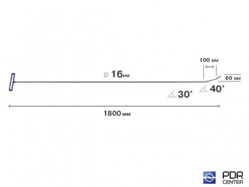 Берта с двумя загибами, острый (длина 180 см, длина 1 загиба 10 см, длина 2 загиба 6 см, угол загиба 70º, Ø 16 мм)