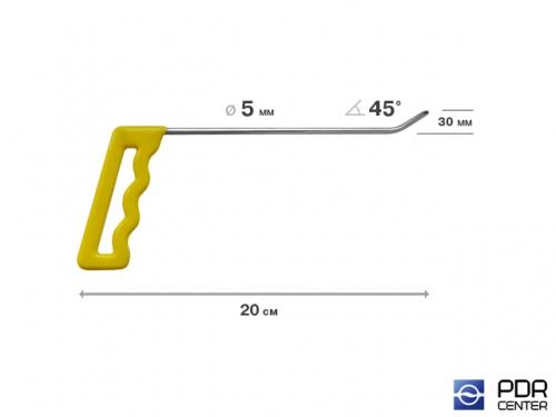 Крючок правый угловой, плоский (длина 20 см, угол загиба 45º, длина загиба 30 мм, Ø 5 мм)