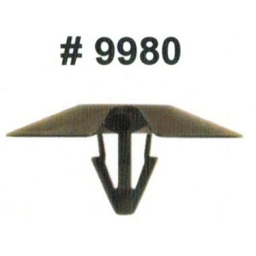 Комплект клипс для автомобилей Chrysler, черные, 50 штук (Ø отверстия 6.3 мм, Ø шляпки 30 мм)
