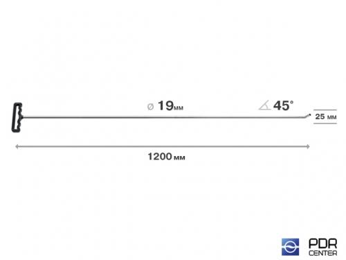 Крючок со стандартным загибом для винтовых насадок (длина 120 см, длина загиба 25 мм, угол загиба 45º, Ø 16 мм)