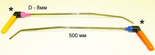 Крючки с поворотной ручкой для работы в полостях PR Bras-1 Platinum Длина 60 см,длина первого загиба 15 см,дина второго загиба 5 см. Угол первого загиба 10°, угол второго загиба 45°. Ø8 мм.