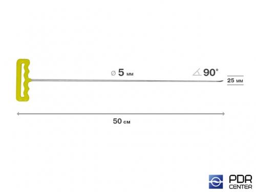 Крючок со стандартным загибом, плоский (длина 50 см,  угол загиба 90º, длина загиба 25 мм, Ø 5 мм)
